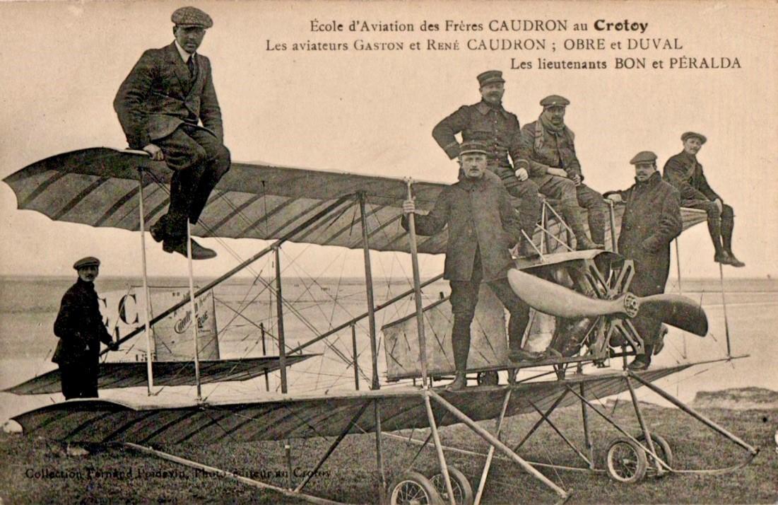 L'école d'aviation des frères Caudron au Crotoy, carte postale (collection particulière)